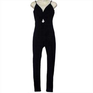 Revamped Strappy V-Neck Slim Leg Black Jumpsuit